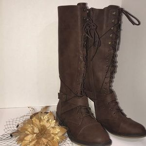 Shoes - Women's Brown Lace-Up Boots Low-Heel New